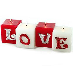 Glitter LOVE Pillars