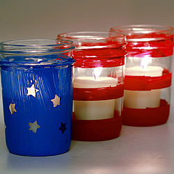 Jelly Jar Flag Lanterns
